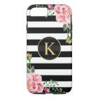 Funda Para iPhone 8/7 Blanco floral del negro del monograma del vintage