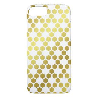 Funda Para iPhone 8/7 Blanco y modelo geométrico del hexágono del oro