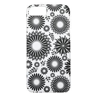Funda Para iPhone 8/7 Boho florece el estampado de flores blanco y negro