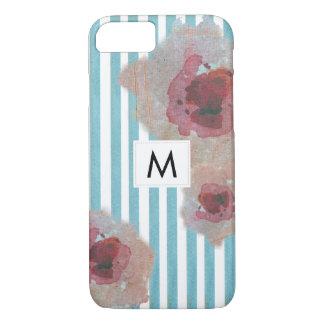 Funda Para iPhone 8/7 Boho rayado elegante Monogramed elegante floral