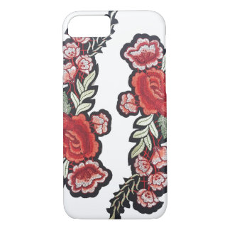 Funda Para iPhone 8/7 Bordado color de rosa bordado de los rosas rojos
