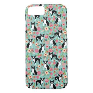 Funda Para iPhone 8/7 Boston Terrier floral - perros y flores
