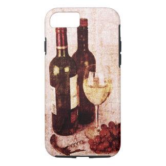 Funda Para iPhone 8/7 Botellas con el vino, la copa de vino blanca y las