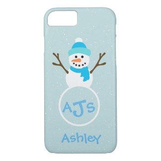 Funda Para iPhone 8/7 Caja blanca del muñeco de nieve del monograma de