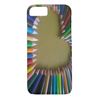 Funda Para iPhone 8/7 Caja coloreada arco iris del teléfono del corazón