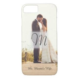 Funda Para iPhone 8/7 Caja de la foto del boda de la novia del monograma