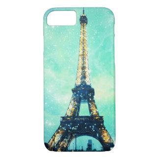 Funda Para iPhone 8/7 Caja de la torre Eiffel, verde menta y azul del