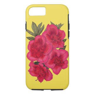 Funda Para iPhone 8/7 Caja roja y amarilla del iPhone de la flor de la