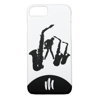 Funda Para iPhone 8/7 Caso de Iphone del monograma del saxofonista 2 del