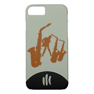 Funda Para iPhone 8/7 Caso de Iphone del monograma del saxofonista de