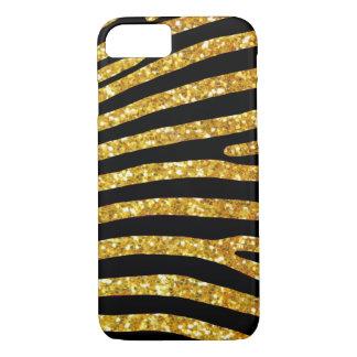 Funda Para iPhone 8/7 Caso de la cebra del purpurina del oro
