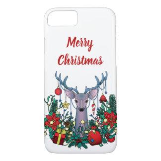 Funda Para iPhone 8/7 Caso de las Felices Navidad con los ciervos del
