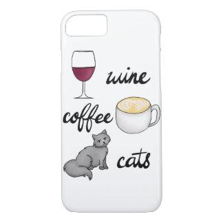 Funda Para iPhone 8/7 Caso de los gatos del café del vino