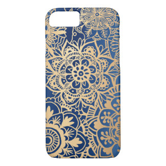 Funda Para iPhone 8/7 Caso del modelo de la mandala del azul y del oro