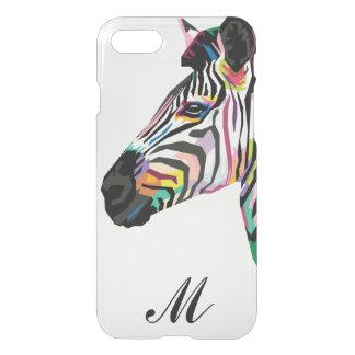 Funda Para iPhone 8/7 Cebra colorida del arte pop con monograma