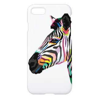 Funda Para iPhone 8/7 Cebra colorida del arte pop en el fondo blanco
