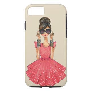 Funda Para iPhone 8/7 Chica del fashionista en vestido y lentes de sol