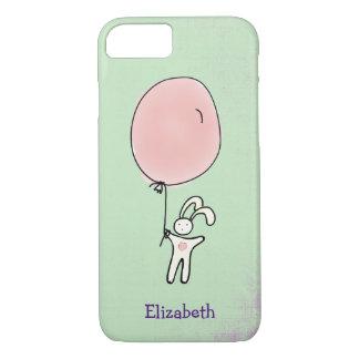 Funda Para iPhone 8/7 Conejito lindo que sostiene un globo personalizado