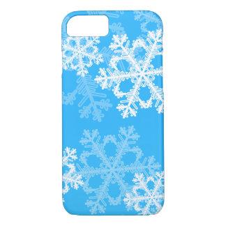 Funda Para iPhone 8/7 Copos de nieve lindos del navidad azul y blanco