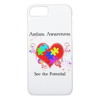 Funda Para iPhone 8/7 Corazón brillante del autismo