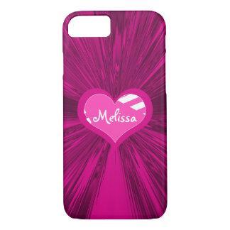 Funda Para iPhone 8/7 Corazón con monograma y satén magenta