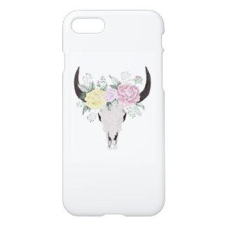 Funda Para iPhone 8/7 Cráneo de la vaca de Boho con las flores