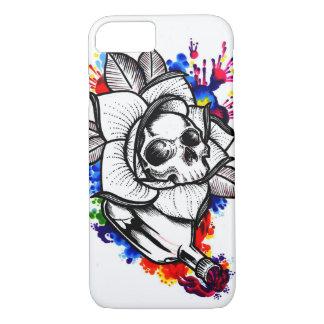Funda Para iPhone 8/7 Cráneo del derramamiento del color de agua y subió