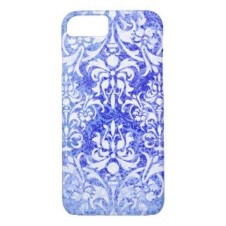 Funda Para iPhone 8/7 Damasco del vintage del Grunge del azul blanco y