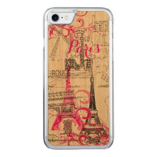 Funda Para iPhone 8/7 De Carved Color de fondo de PixDezines París sketched/DIY
