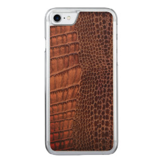 Funda Para iPhone 8/7 De Carved Cuero clásico del reptil del cocodrilo de Brown