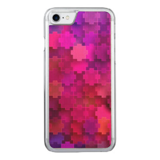 Funda Para iPhone 8/7 De Carved El rompecabezas cuadrado rosado y azul junta las