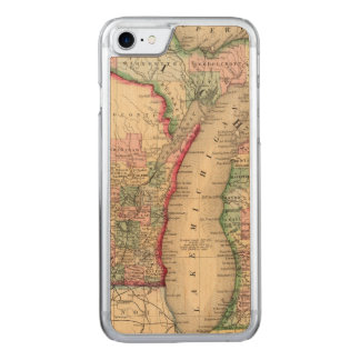 Funda Para iPhone 8/7 De Carved Mapa de Michigan, Wisconsin de Mitchell
