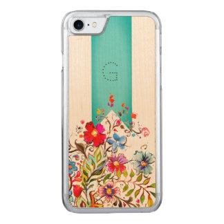 Funda Para iPhone 8/7 De Carved Personalizable floral de la turquesa de Boho