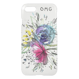 Funda Para iPhone 8/7 Diseño del monograma de las flores de Pink&Blue de