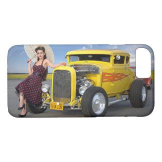 Funda Para iPhone 8/7 El coche de carreras flamea el Pin del coche del