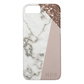 Funda Para iPhone 8/7 El falso mármol color de rosa del purpurina del