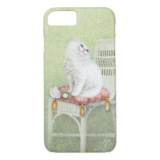 Funda Para iPhone 8/7 el gato y los rosas blancos en silla elegante
