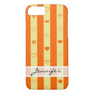 Funda Para iPhone 8/7 El naranja elegante raya el modelo moderno del