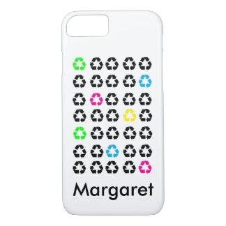 Funda Para iPhone 8/7 El negro colorido recicla símbolos personaliza