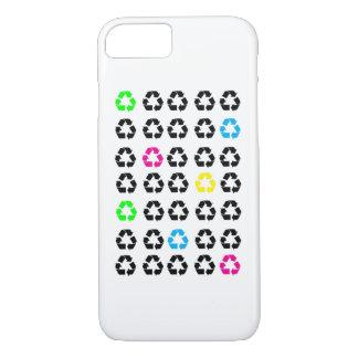 Funda Para iPhone 8/7 El negro recicla azulverde amarillo rosado de neón
