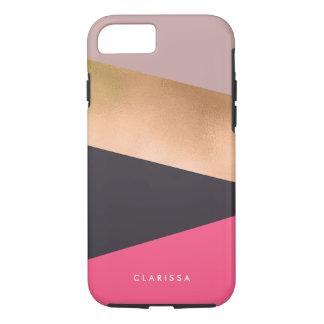 Funda Para iPhone 8/7 el polluelo elegante subió el bloque gris rosado
