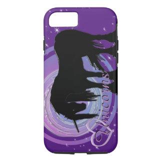 Funda Para iPhone 8/7 El unicornio negro místico (púrpura/falta de