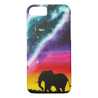 Funda Para iPhone 8/7 Elefante y vía láctea - caja de encargo del