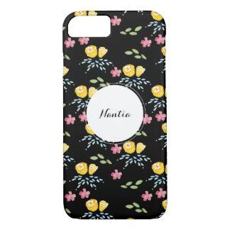 Funda Para iPhone 8/7 Estampado de flores negro con la etiqueta conocida