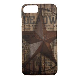 Funda Para iPhone 8/7 Estrella solitaria de madera de Tejas del país