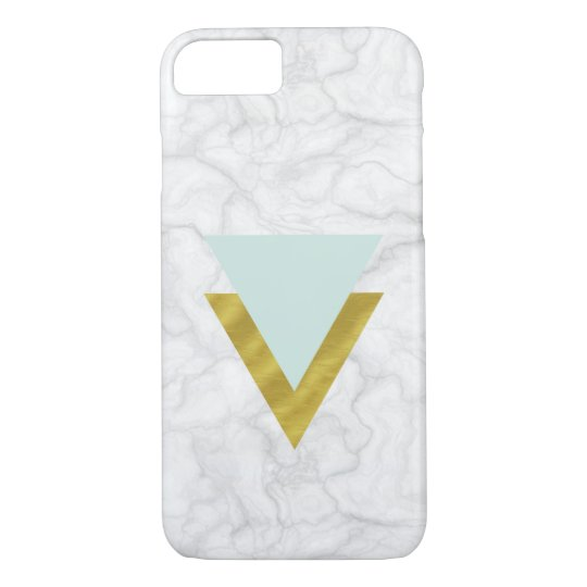 Funda Para iPhone 8/7 Fake marble with mint & gold triangles