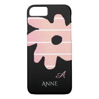Funda Para iPhone 8/7 flor rosada rayada con nombre y inicial