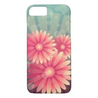 Funda Para iPhone 8/7 Flores rosadas y círculos azules