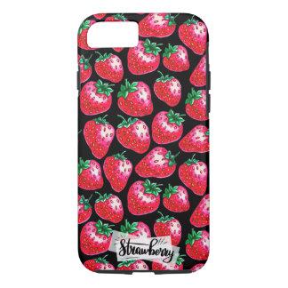 Funda Para iPhone 8/7 Fresa roja en fondo negro