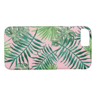Funda Para iPhone 8/7 Frondas y helechos rosados tropicales de la palma